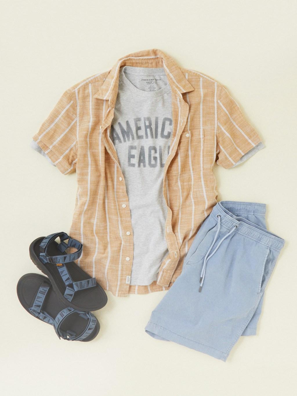 american eagle shirt, graphic tee, and jogger shorts
