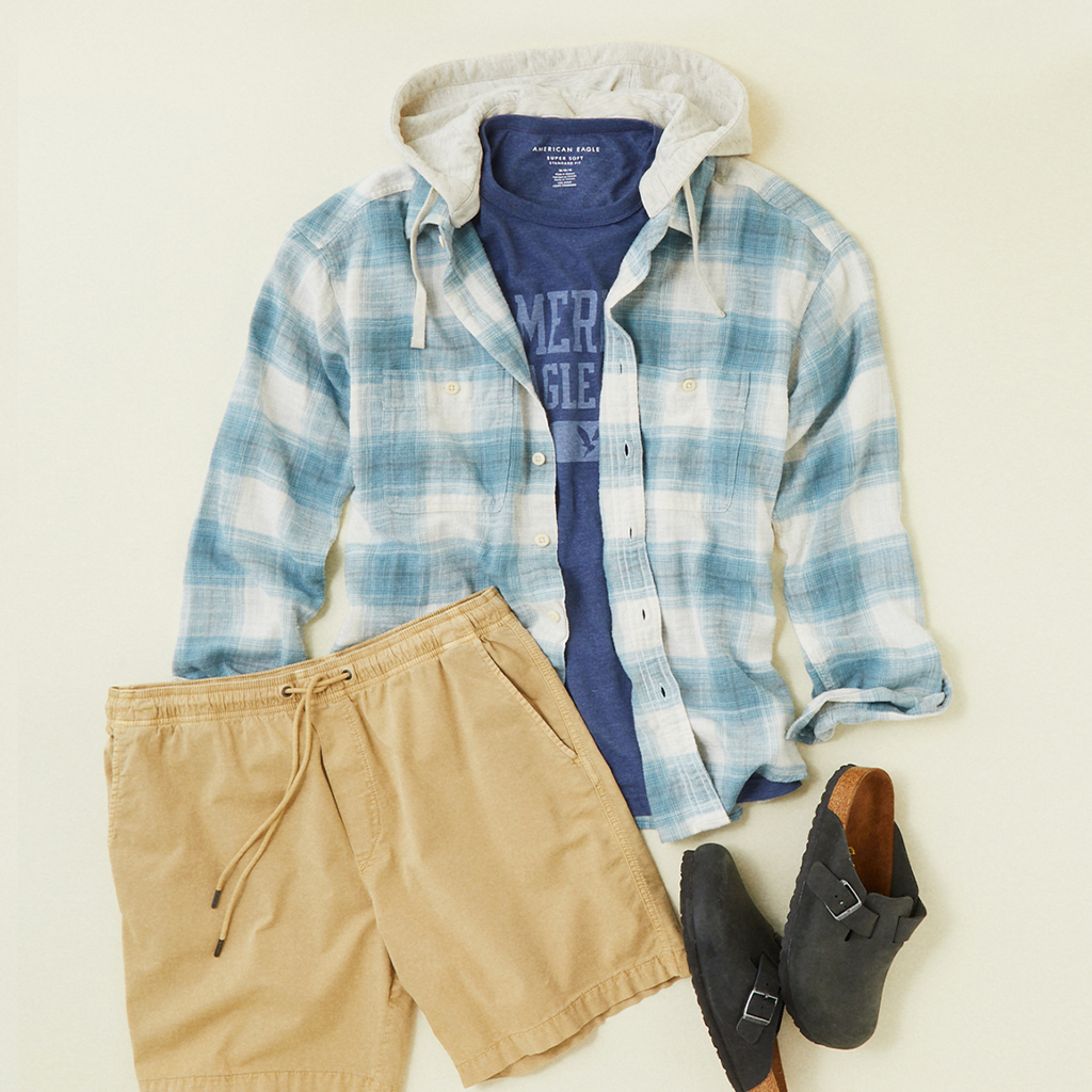 american eagle flannel hoodie, graphic tee, and jogger shorts