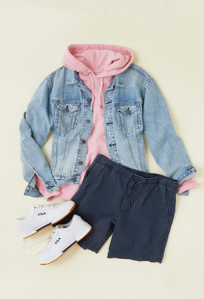 american eagle denim jacket, hoodie, and jogger shorts